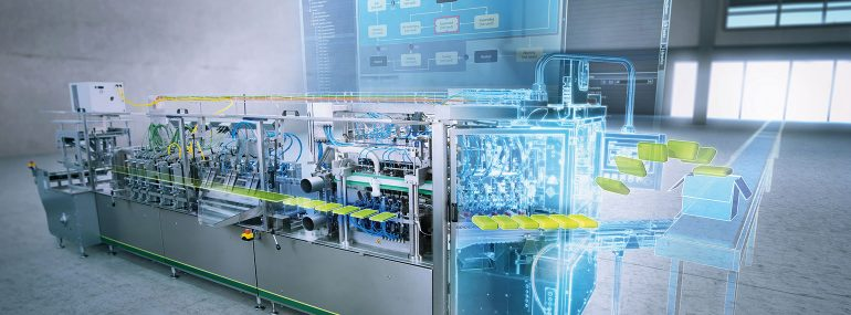 Siemens demonstrates its digital value-chain concept for the packaging industry.