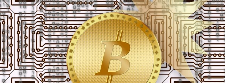 Illustration of Bitcoin symbol in front of computer processor background