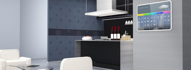 Illustration of home automation control panel on the kitchen wall