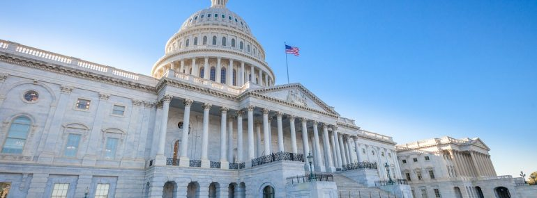 Low angled view of the U.S. Capitol East Facade Front in Washington, DC.