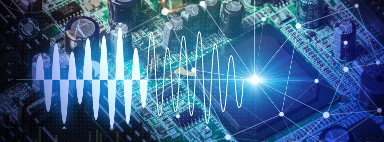 Image shows electronic circuit board and digital information technology concept.