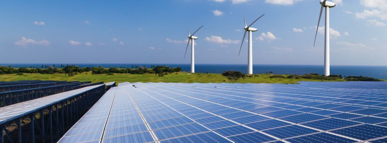 Image shows wind turbines and solar panels