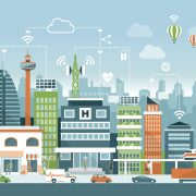 Image shows abstract image of a smart city.