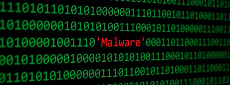 Image shows malware and binary code concept security and malware attack.
