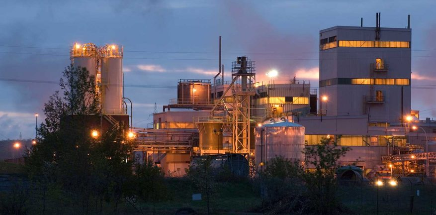 Industrial plant at twilight