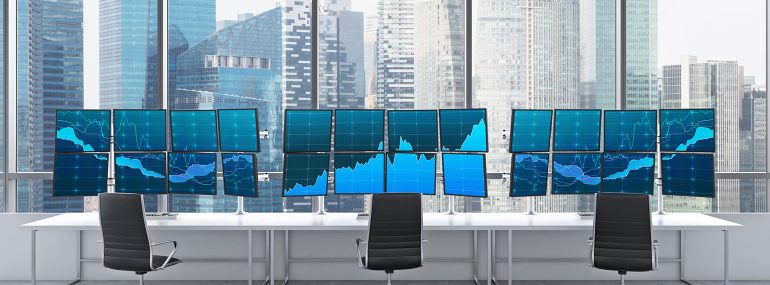 Conference room with computer monitors