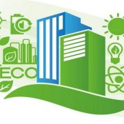 Graphic of buildings with green technology symbols