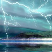 Lake with dramatic lightening and clouds