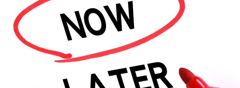 Now and later words with red marker