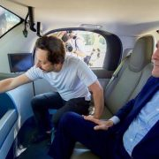Google Co-Founder Sergey Brin shows U.S. Secretary of State John Kerry the interior of a Goggle autonomous vehicle in Palo Alto, CA.