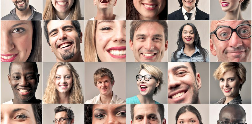 Smiling faces in a grid