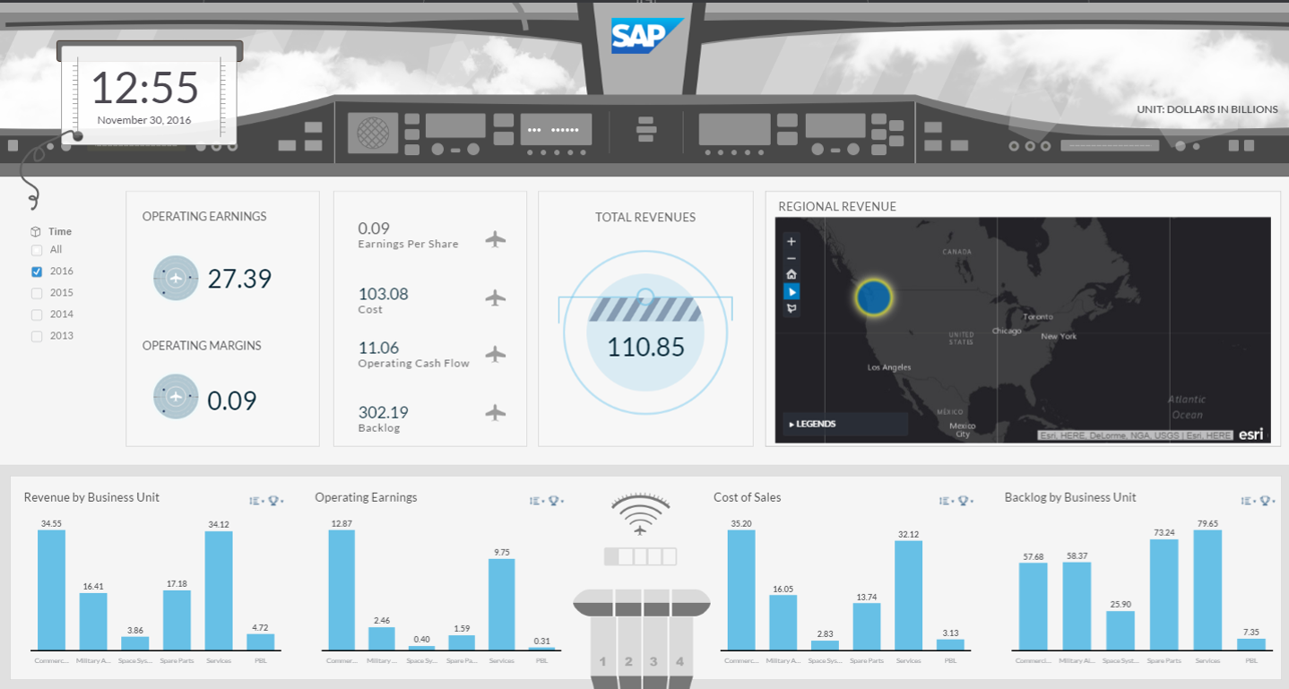 Screenshot of the new SAP Aerospace & Defense Digital Boardroom solution