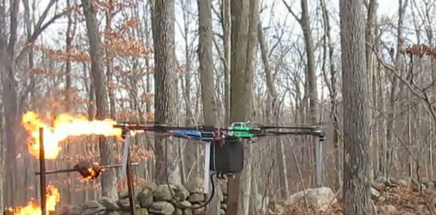 Drone as a flamethrower