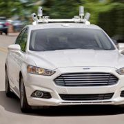Ford Fusion Hybrid fitted with Velodyne LIDAR sensors.