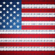 American flag with binary numbers