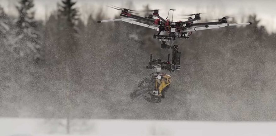 Drone with chainsaw