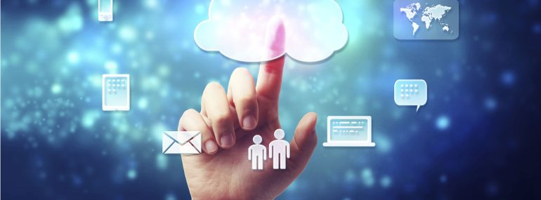 Hand touching data in the cloud