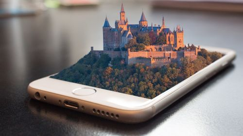 Illustration of a medieval city built on a smartphone screen