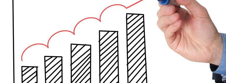 Illustration of a growth chart showing a continual increase