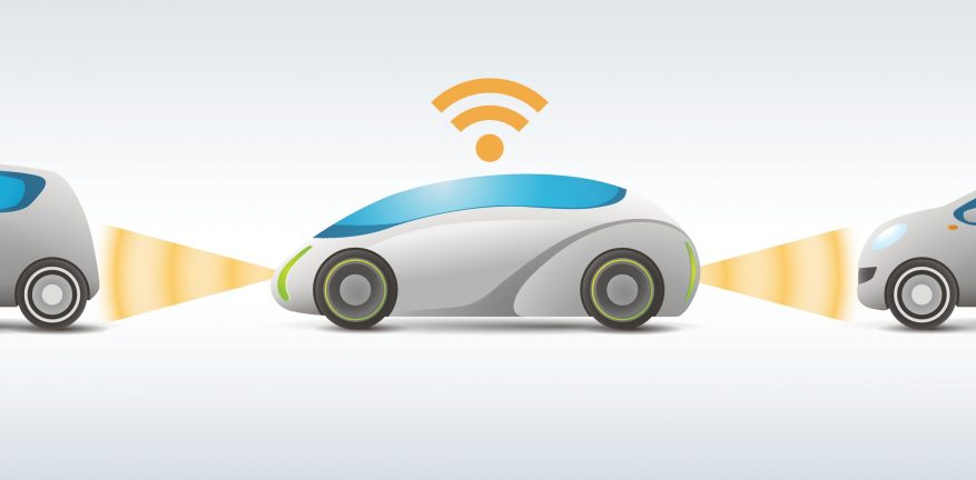 Illustration of futuristic cars with transmitting information via sensors