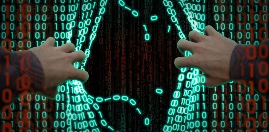 Abstract illustration of hacker entering curtain of computer code