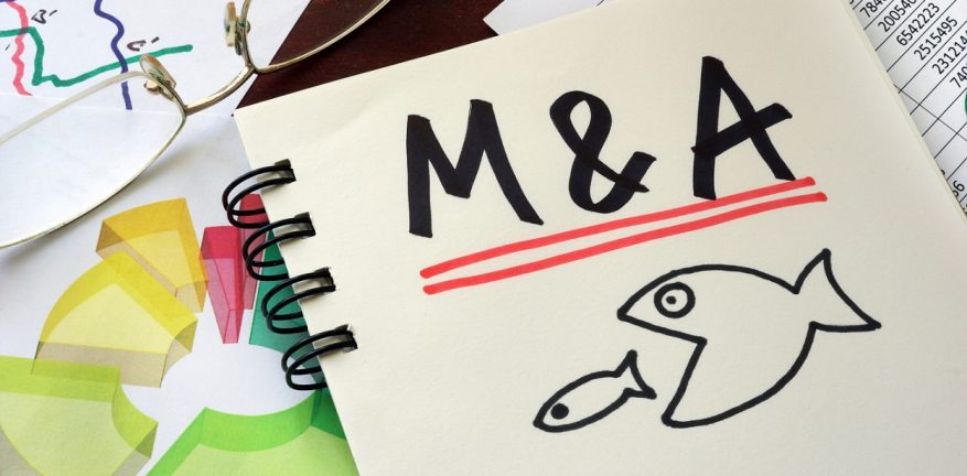 Illustration of mergers and acquisitions imagery, with a big fish swallowing a smaller fish