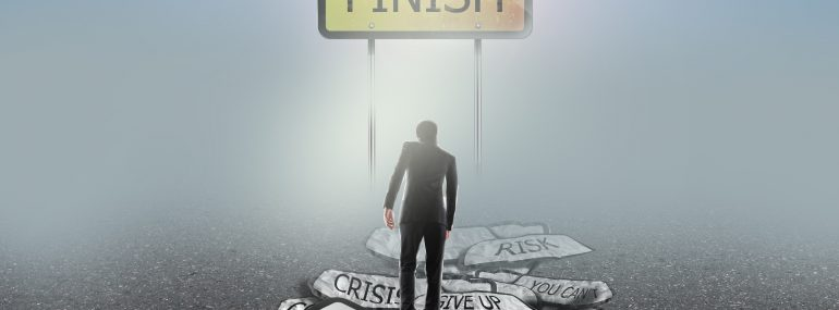 Conceptual image of businessman walking on projects to finish