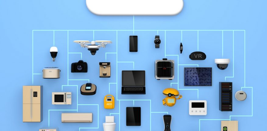 Concept illustration of IoT and consumer devices connected by a cloud computing service