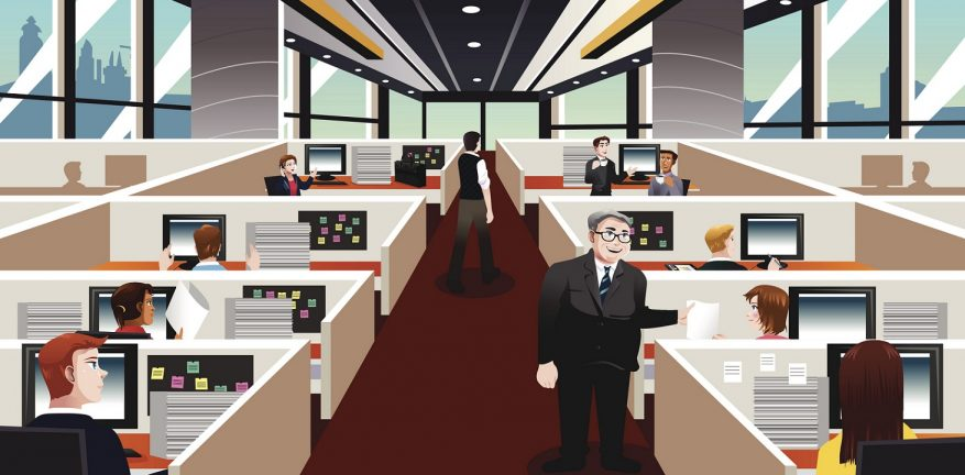 A vector illustration of  people working in the office