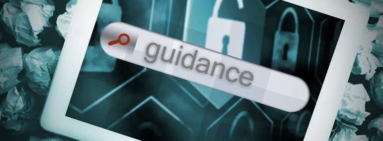 Image of the word guidance over a lock icon on a tablet screen