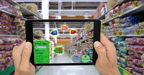 internet of things marketing concepts,smart augmented reality,customer hold the taplet to see the product that search by ai application with hot deal,promotion code