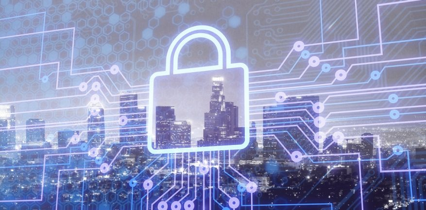Digital lock icon and city background, concept of data security