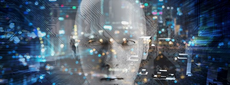 Internet of things Disruption everything , neural network , deep learning , artificial intelligence concept. 3d rendering of robot face , blue bokeh and building abstract background.
