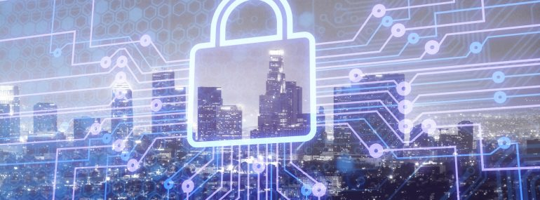 Image shows digital lock icon and city background, concept of data security