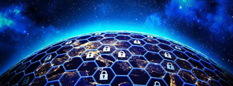 Global network security and data protection concept