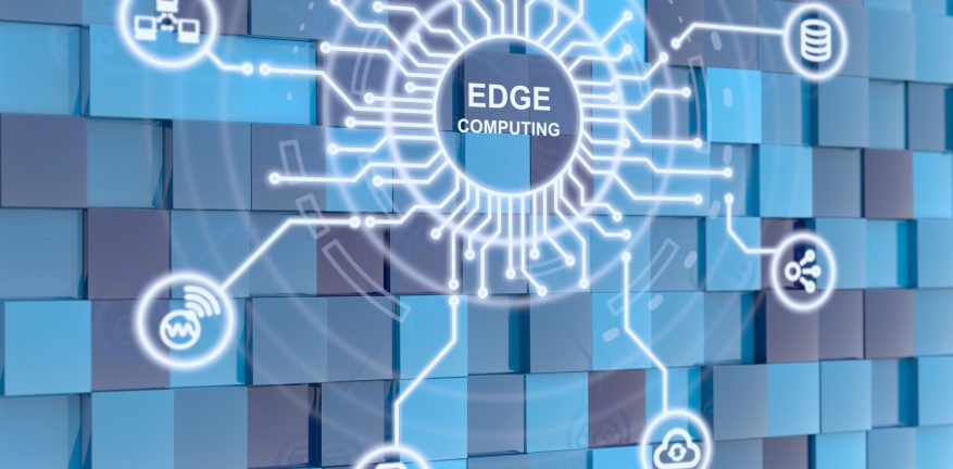 Image shows edge computing circuit circle on blue cube background