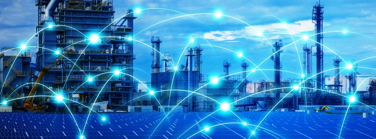 Image shows a smart factory and telecommunication network.
