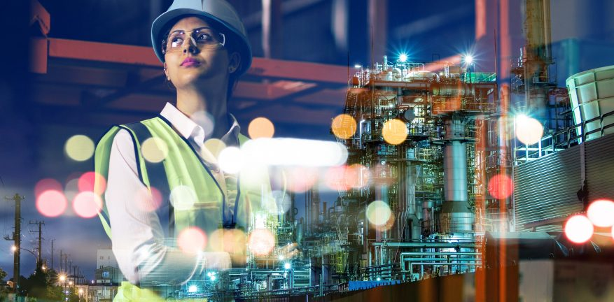 Image shows a woman in an industrial technology concept.