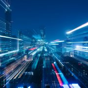 Image of a virtual city in blur motion