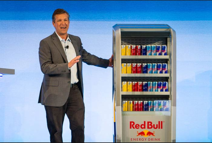 The Red Bull cooler displayed at the 2016 AT&T Summit.