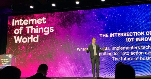 Zach Butler, portfolio manager for IoT World, on stage at the IoT World 2019 event in Santa Clara, Californai