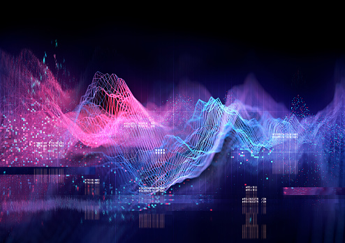 Image shows an abstract visualization of data and technology in graph form. 3D Illustration