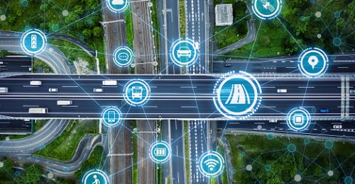 Image shows social infrastructure and communication technology concept. IoT(Internet of Things). Autonomous transportation.