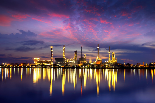 Image shows an oil refinery.
