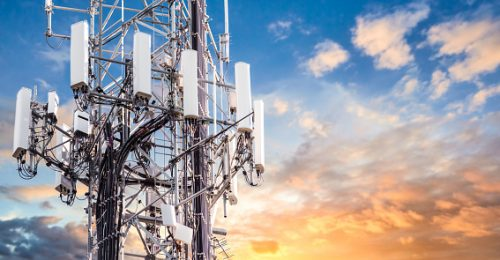 Image shows a 5G cellular communications tower for mobile phone and video data transmission tower.