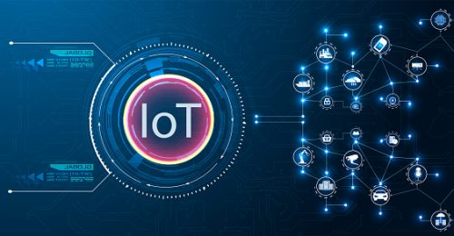 Image shows the concept of IOT technology on a blue background.