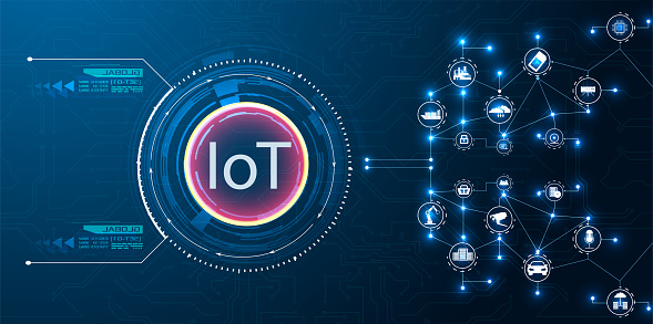 Image shows the concept of IOT technology on a blue background. The concept of connecting devices.