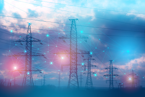 Image shows an abstract representation of solving problems using artificial intelligence to increase reliability and reduce losses and accidents during the transmission of electrical energy.