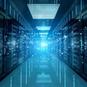 Image shows a connection network in dark servers data center room storage systems, 3D rendering.