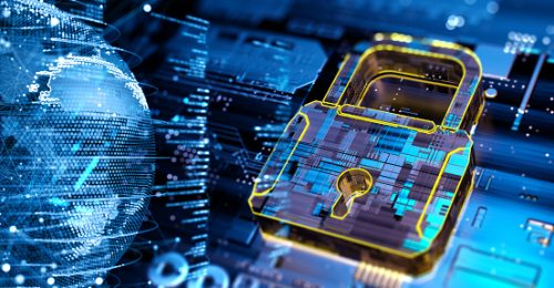 Image shows a digital background depicting innovative technologies in security systems,